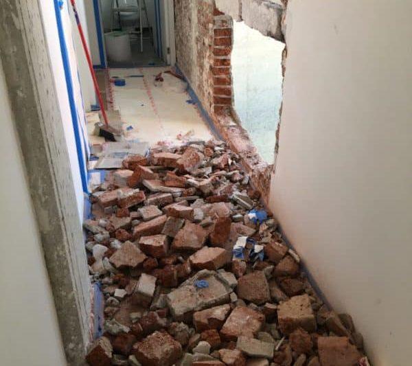 Reparación de muros dañados por sismo